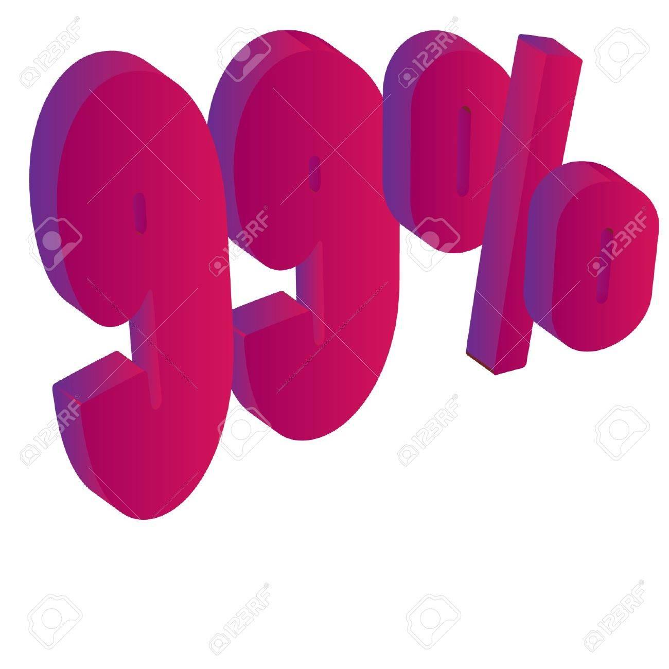 99 Percent 3D Vector Illustration Stock Vector - 16008303