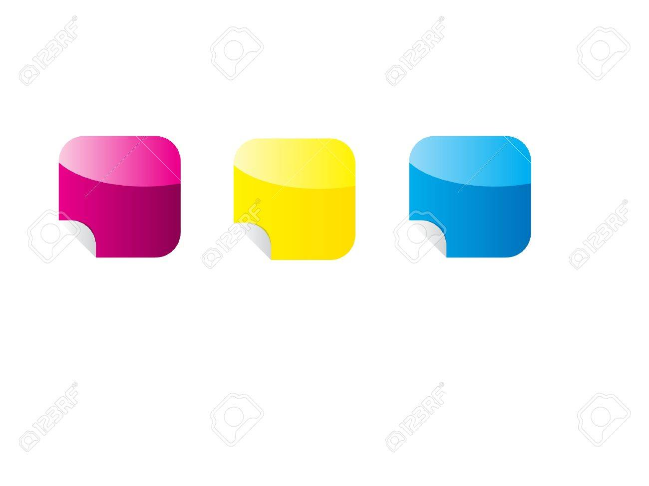 Glossy Sticker Icon Set Stock Vector - 16352394