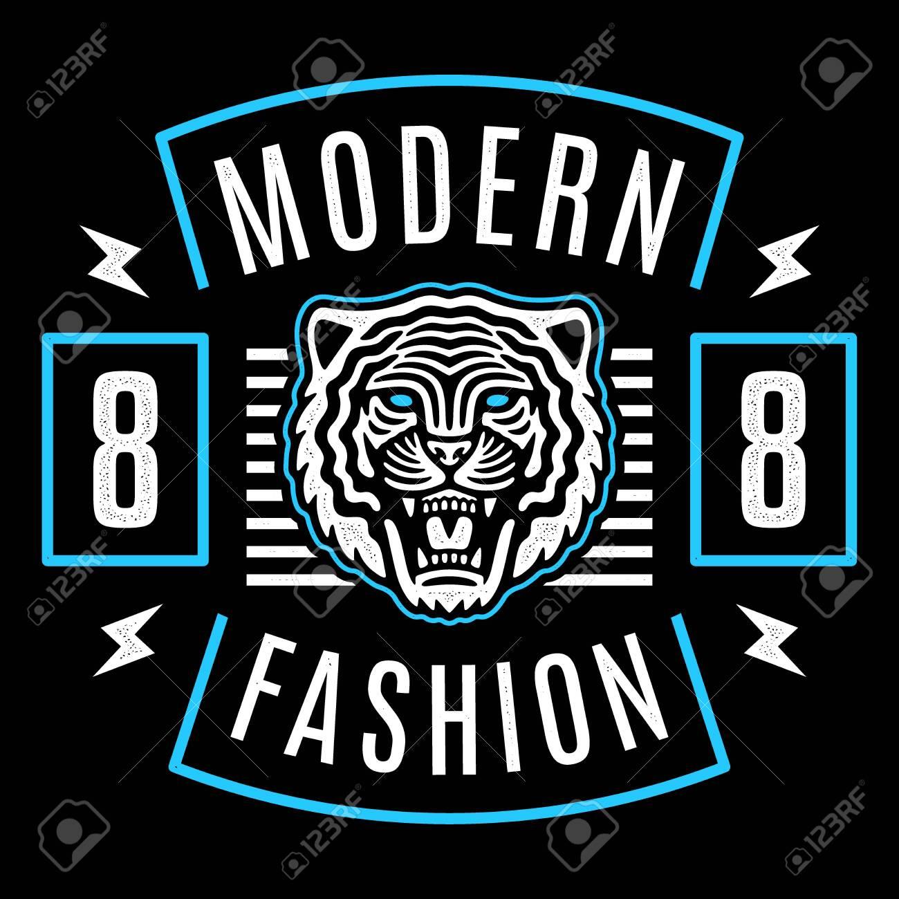 Roaring tiger poster. Modern emblem. Vintage tiger head. Retro design. Modern fashion. - 151212691
