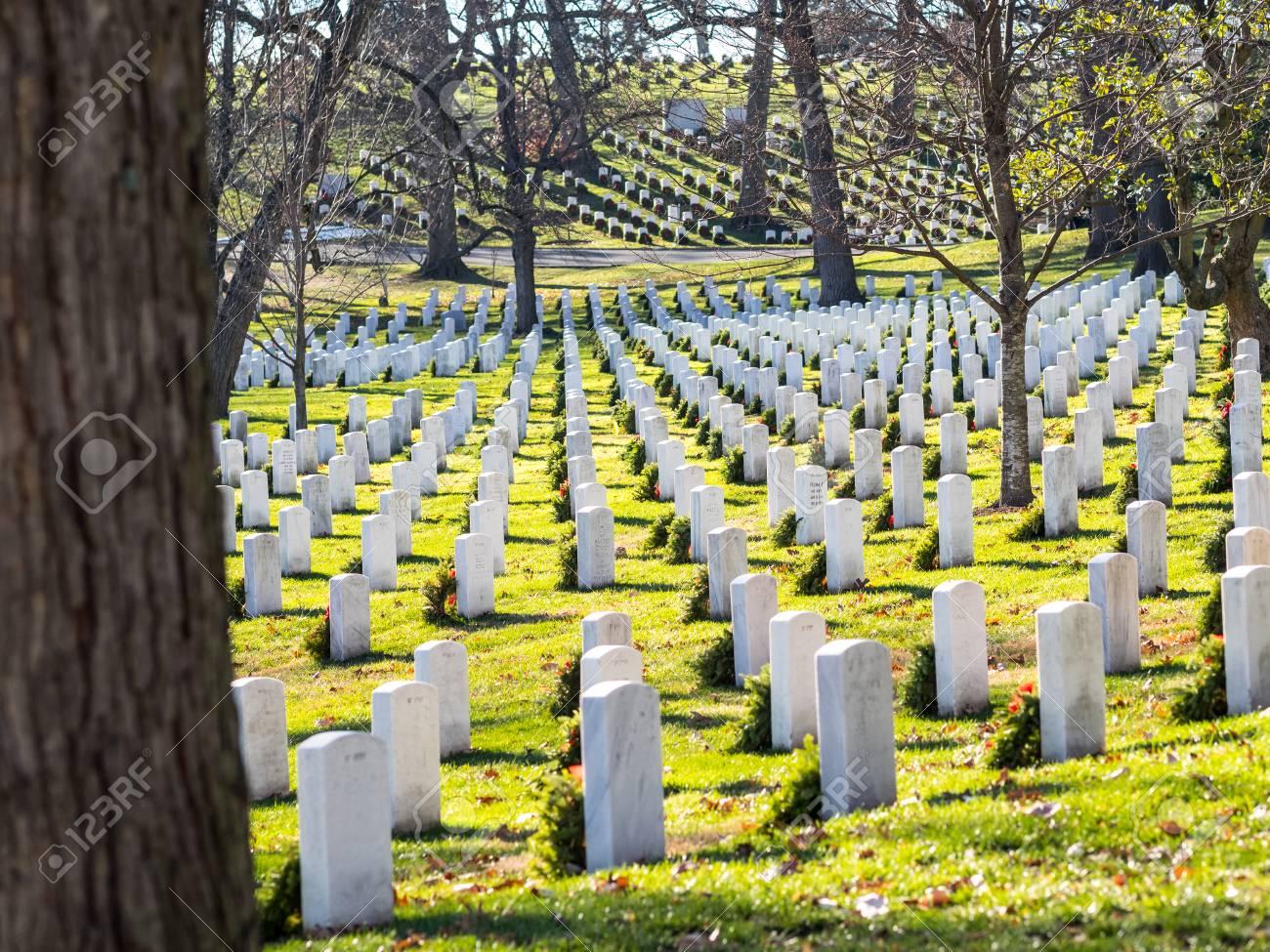 Christmas Time In Washington Dc.Washington Dc Usa December 26 2015 Gravestones On Arlington
