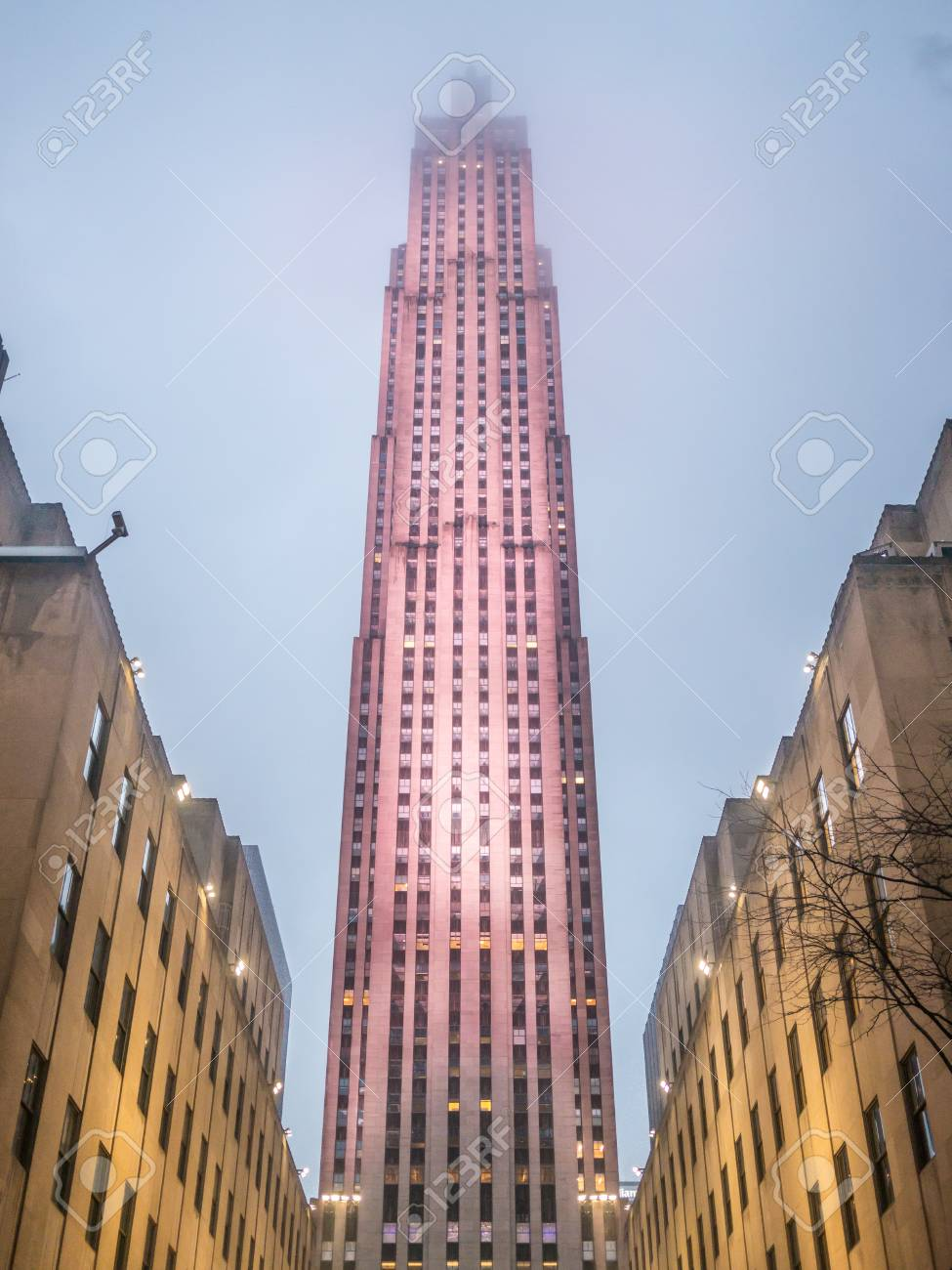 NEW YORK - JANUARY 3, 2015: Rockefeller Center is a complex of different commercial buildings located in Midtown Manhattan. - 107886910