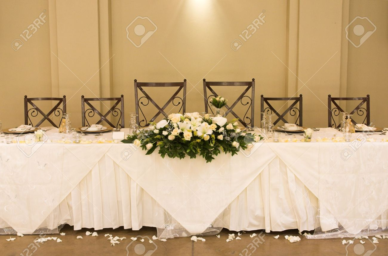 Main Table At A Wedding Reception With Beautiful Flowers Stock Photo