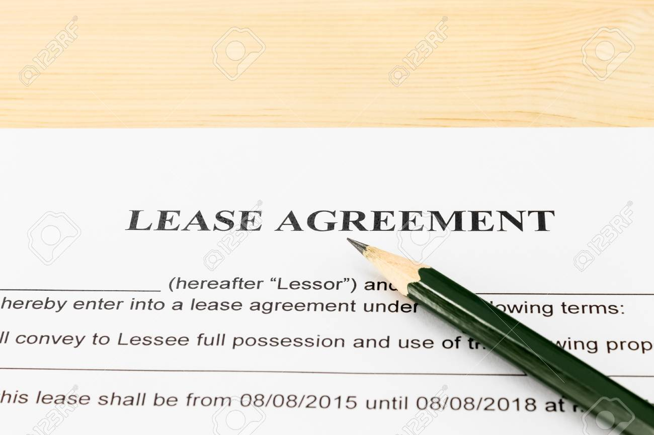 Lease Agreement Contract Document And Pencil Horizontal View Stock