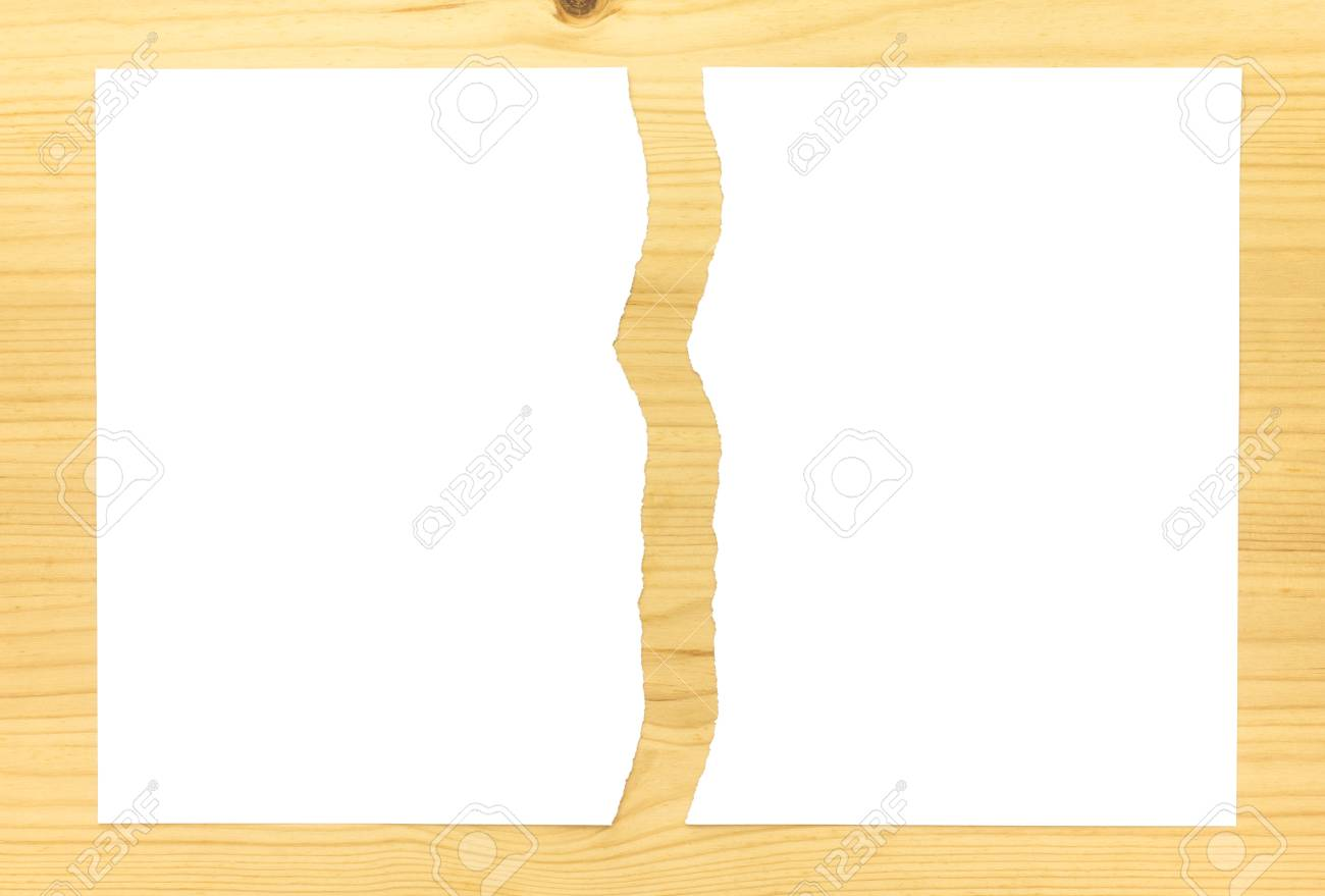 White Ripped Paper In Half On Wood Background White Torn Paper Stock Photo Picture And Royalty Free Image Image 106079457
