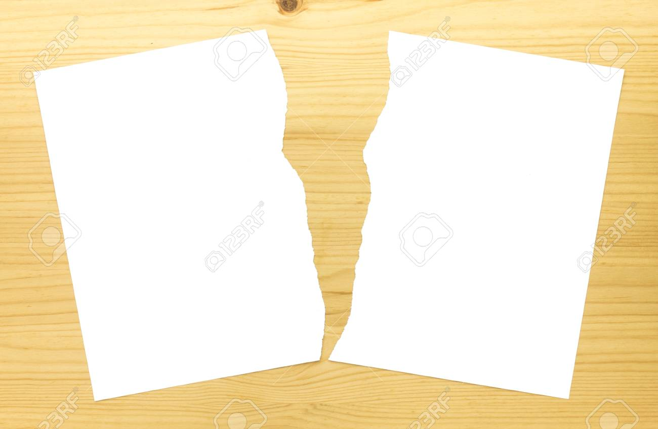 White Ripped Paper In Half On Wood Background White Torn Paper Stock Photo Picture And Royalty Free Image Image 106080178