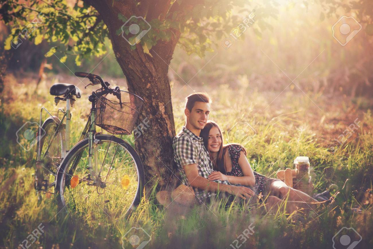 Attractive couple at countryside Stock Photo - 47256407