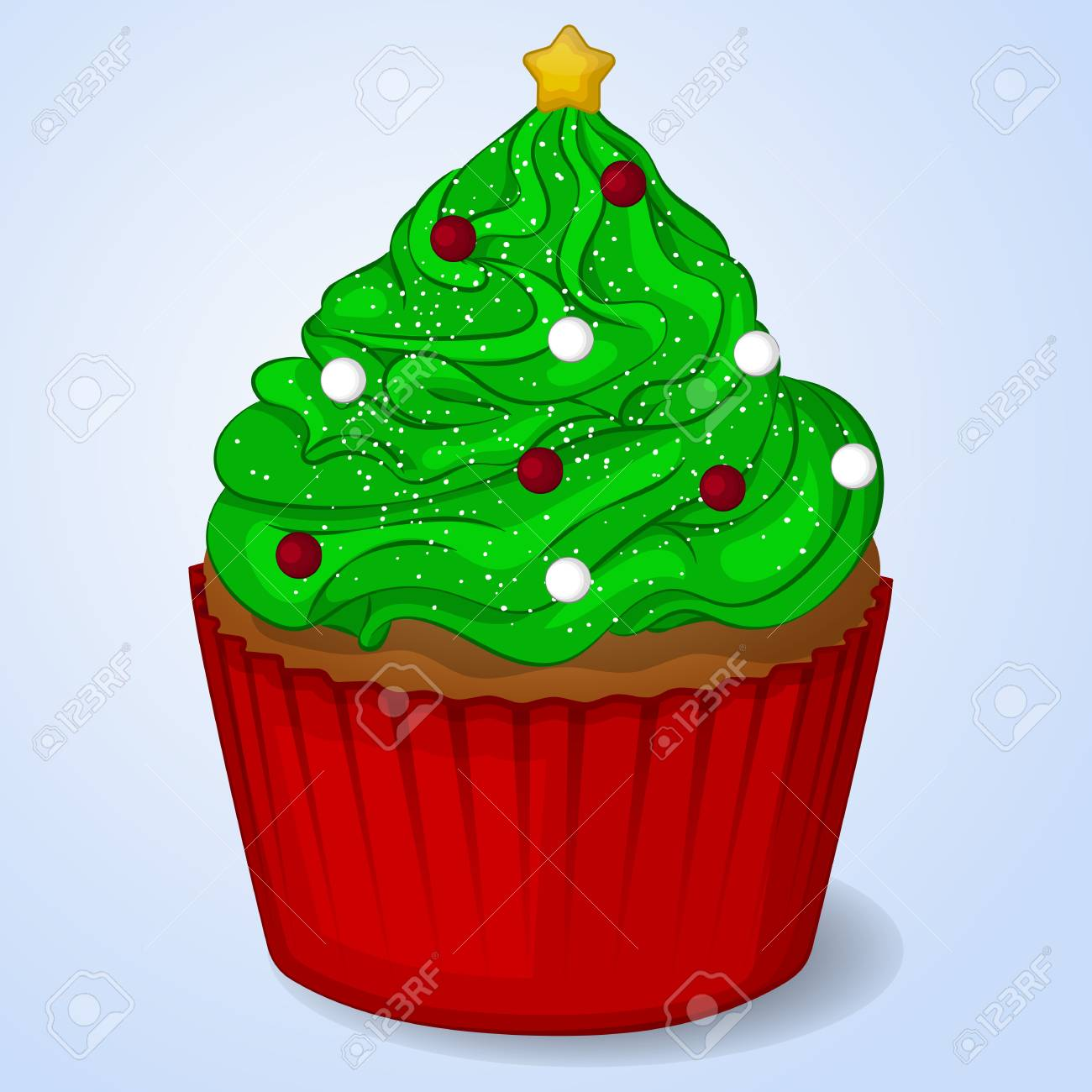 Sweet And Delicious Christmas Cupcake For New Year Design. Simple ...