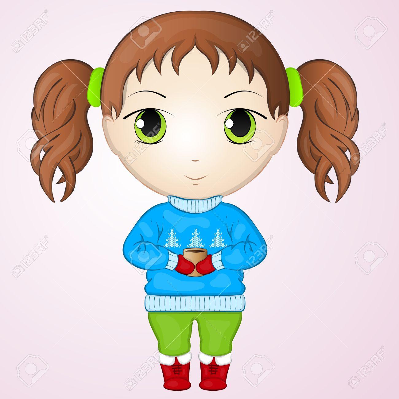 Banque dimages cute anime chibi petite fille portant un pull et tenant une tasse de thé chaud style de dessin animé simple illustration vectorielle