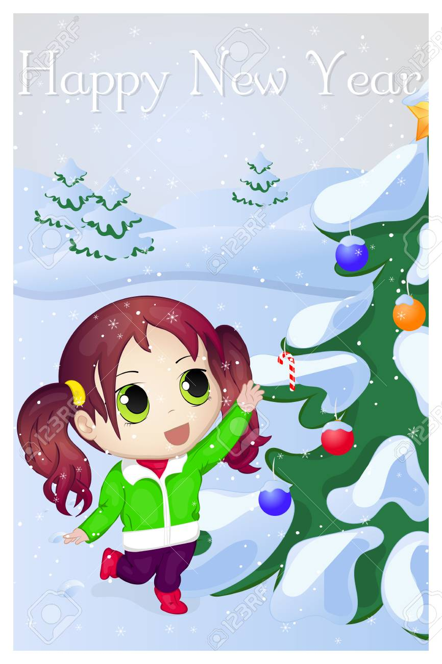 Anime Merry Christmas.Cute Anime Chibi Little Girl Trying To Take Candy Merry Christmas