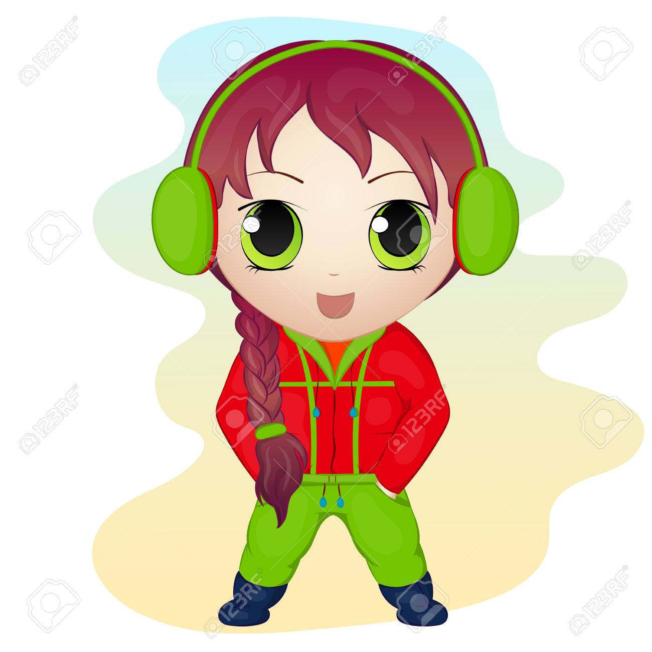 Cute anime chibi little girl wearing earmuffs simple cartoon style vector illustration new
