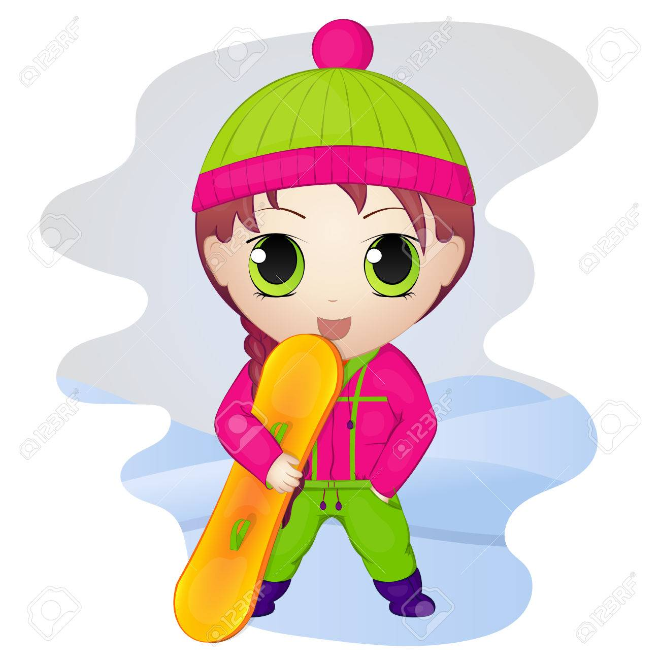 Cute anime chibi little girl with snowboard simple cartoon style vector illustration new