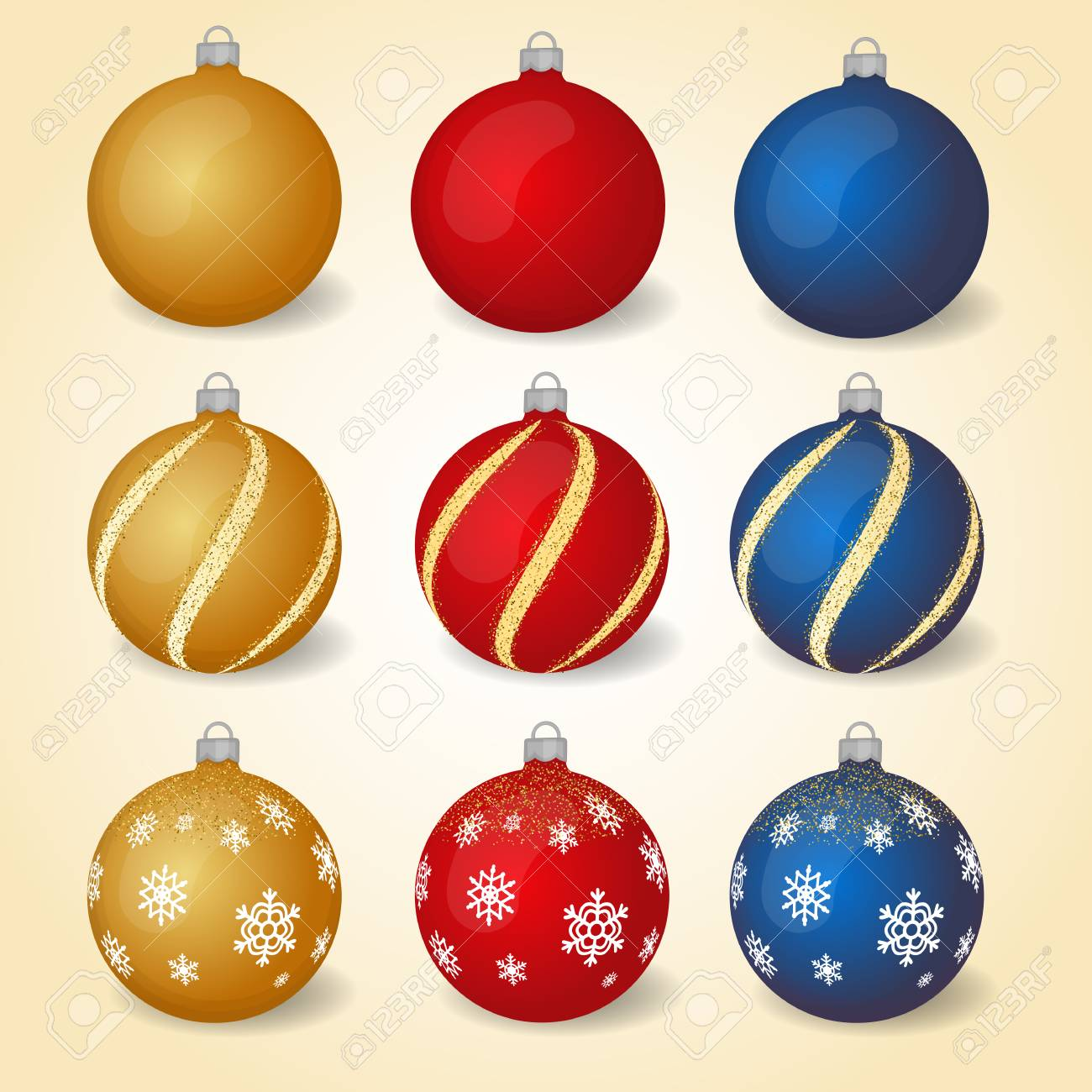 Colorful Christmas.Colorful Christmas Balls With Different Ornaments Set Of Isolated