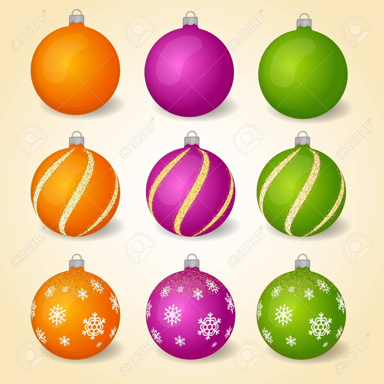 Colorful Christmas Balls.Colorful Christmas Balls With Different Ornaments Set Of Isolated