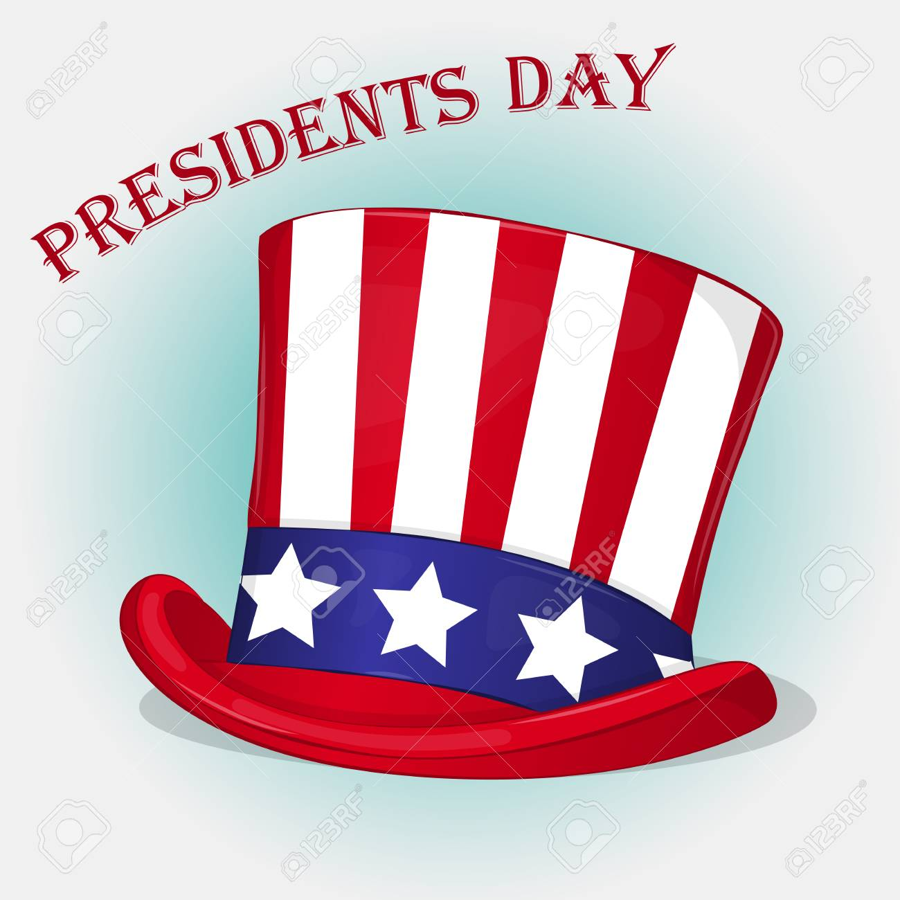presidents day background with patriotic uncle sam hat holiday