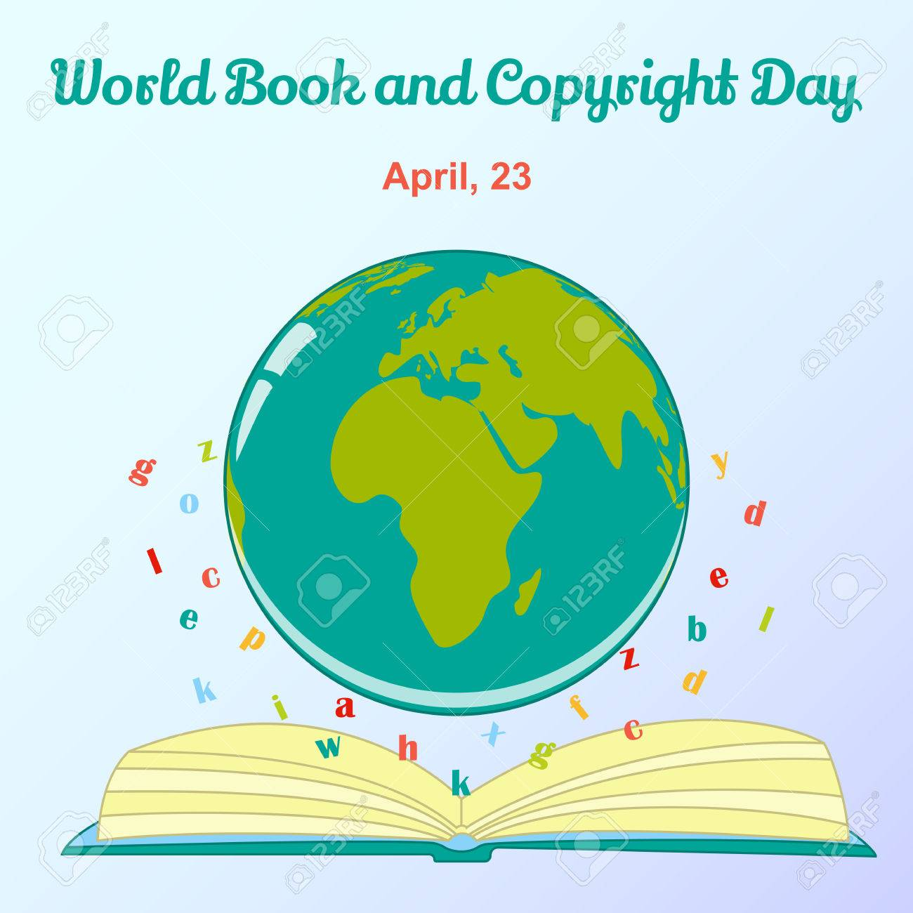 Background For World Book And Copyright Day With Globe And Letters ...