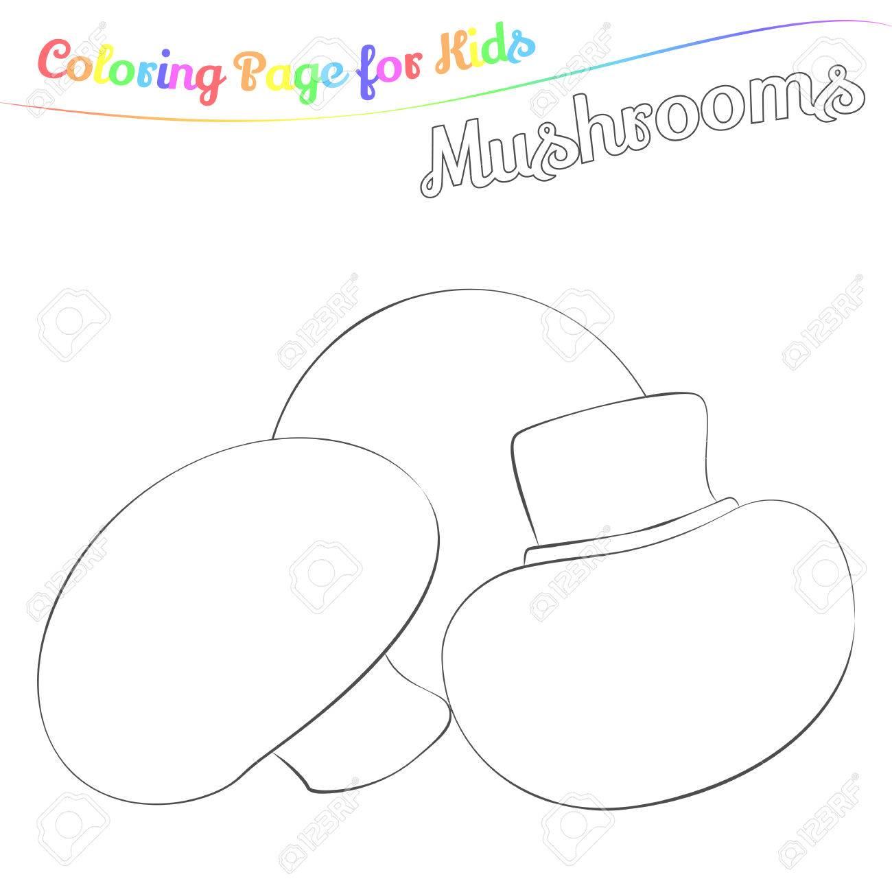 Champignons Delicieux Pour La Coloration Style De Dessin Anime Simple Page Pour L Art Livre De Coloriage Pour Les Enfants Illustration Vectorielle