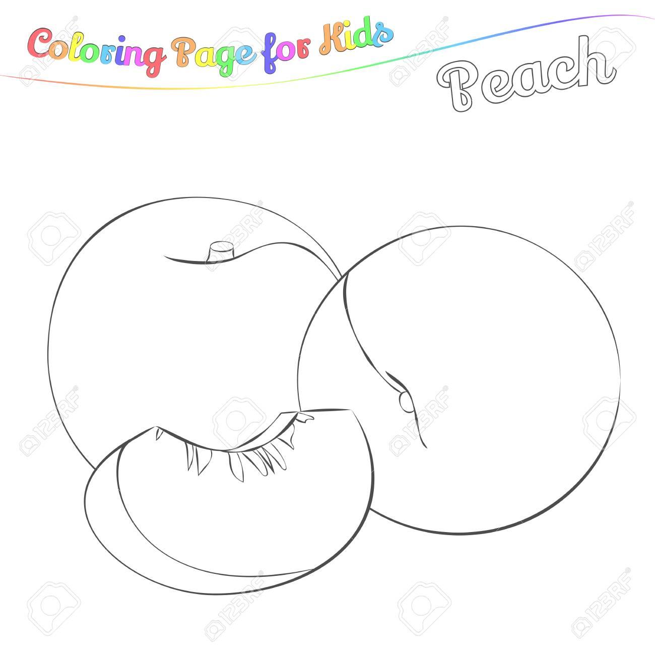 Peche Delicieuse A Colorier Style De Dessin Anime Simple Page Pour L Art Livre De Coloriage Pour Les Enfants Illustration Vectorielle