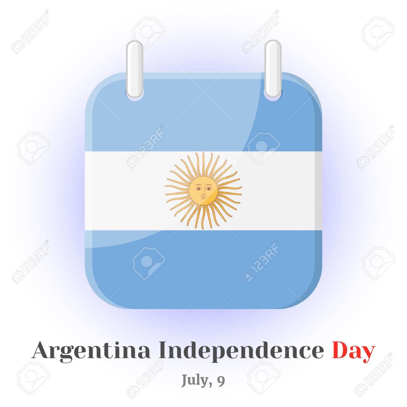 Icono De Calendario Con Bandera De Argentina Y Letras Para Su Diseño Aislado Sobre Fondo Azul En Estilo De Dibujos Animados Para El Día De La