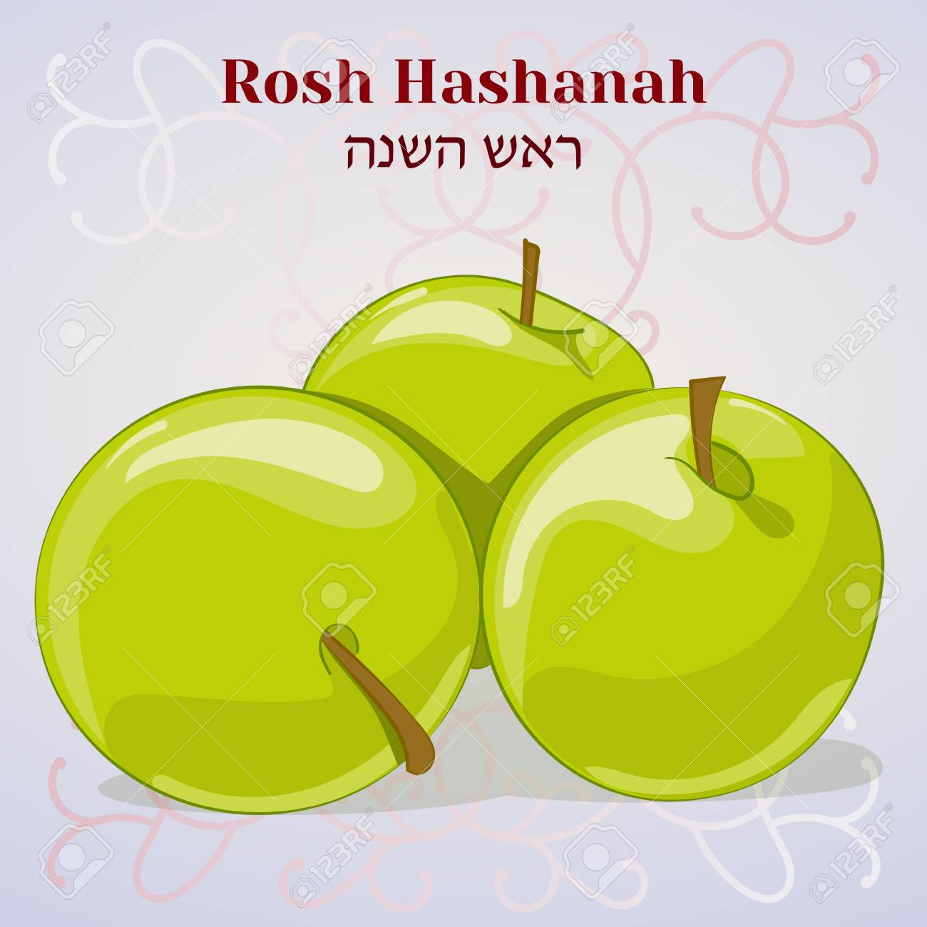 Rosh Hashanah Jewish New Year Greeting Card With Apples In Cartoon