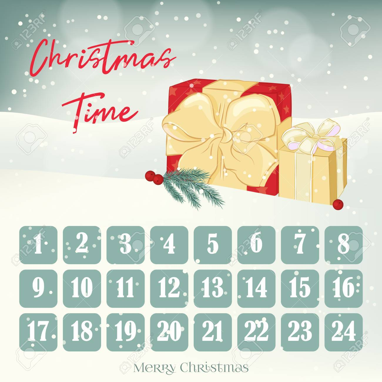 christmas advent calendar background poster with gifts fir tree