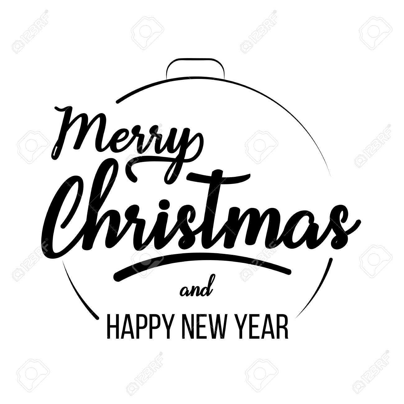 2e62a92a0f009 Merry Christmas and Happy New Year lettering template. Monochrome greeting  card or invitation. Typography
