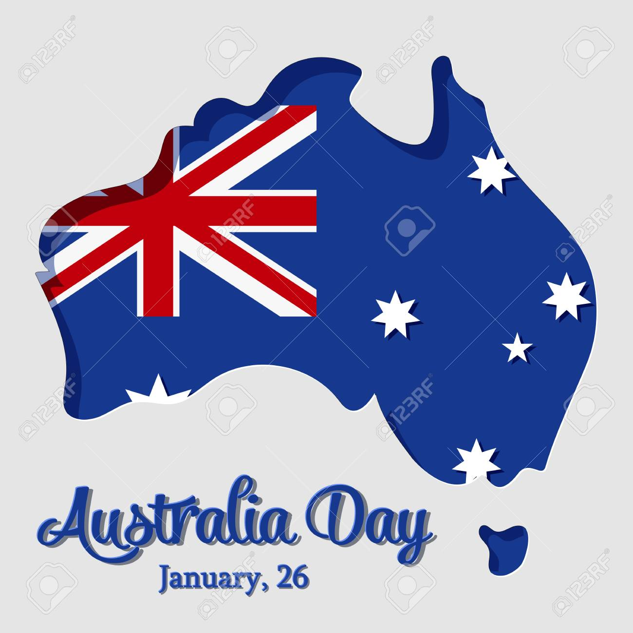 Happy australia day greeting card with map and flag in paper stock happy australia day greeting card with map and flag in paper art and craft style m4hsunfo