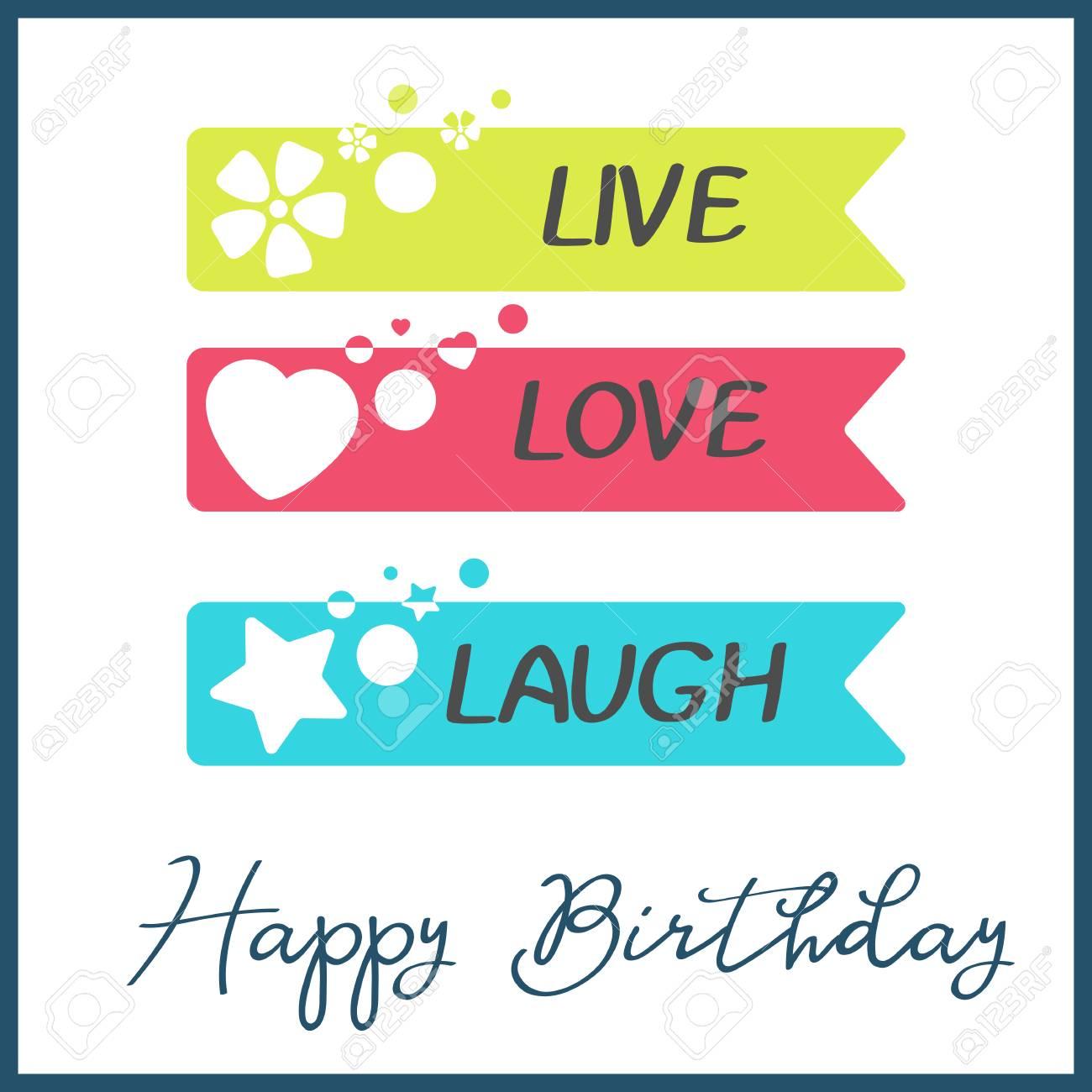 Bright Happy Birthday greeting card in minimalist style. Modern..