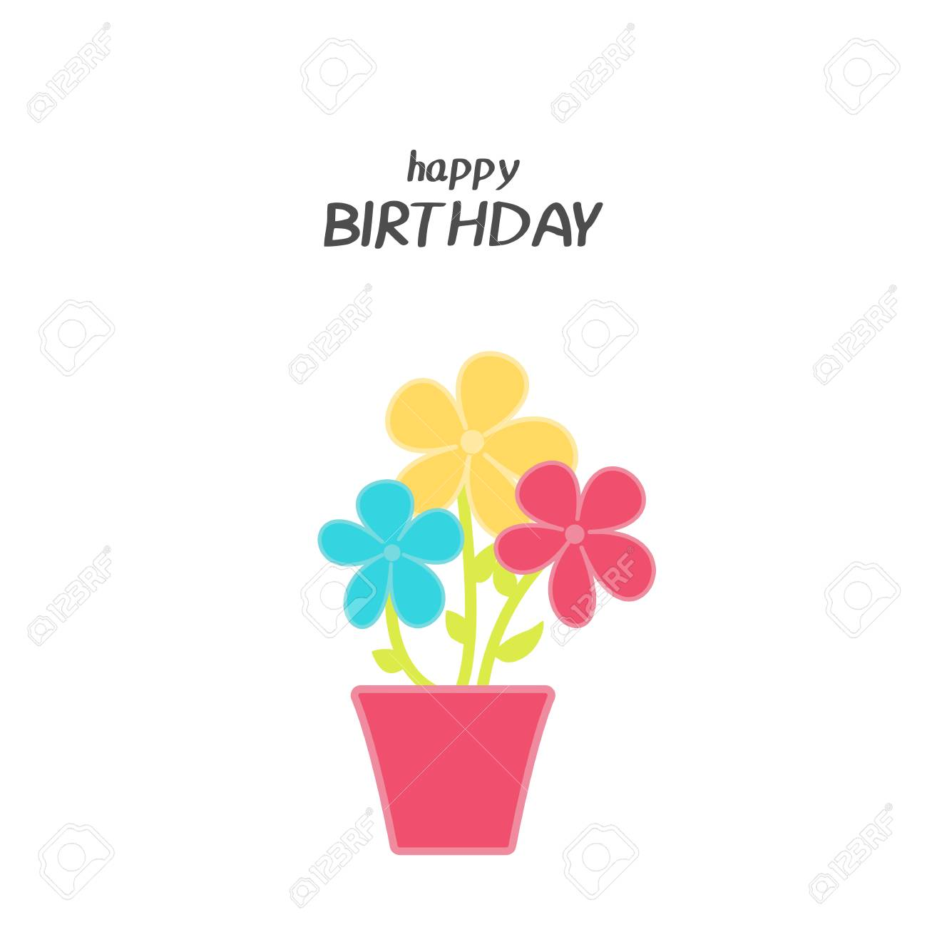 Bright Happy Birthday Greeting Card With Flowers In Minimalist