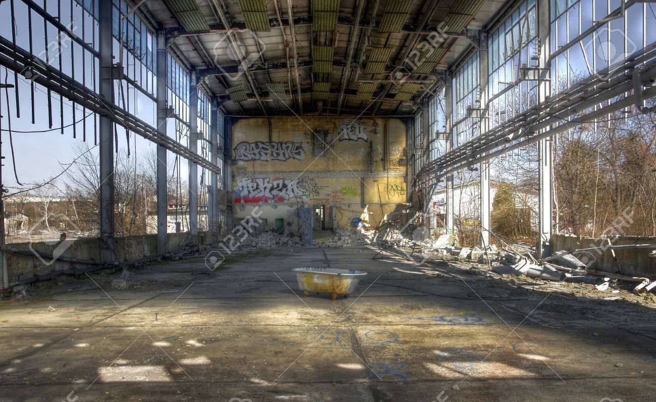 Old Abandoned Warehouse With A Bathtub Stock Photo, Picture And ...