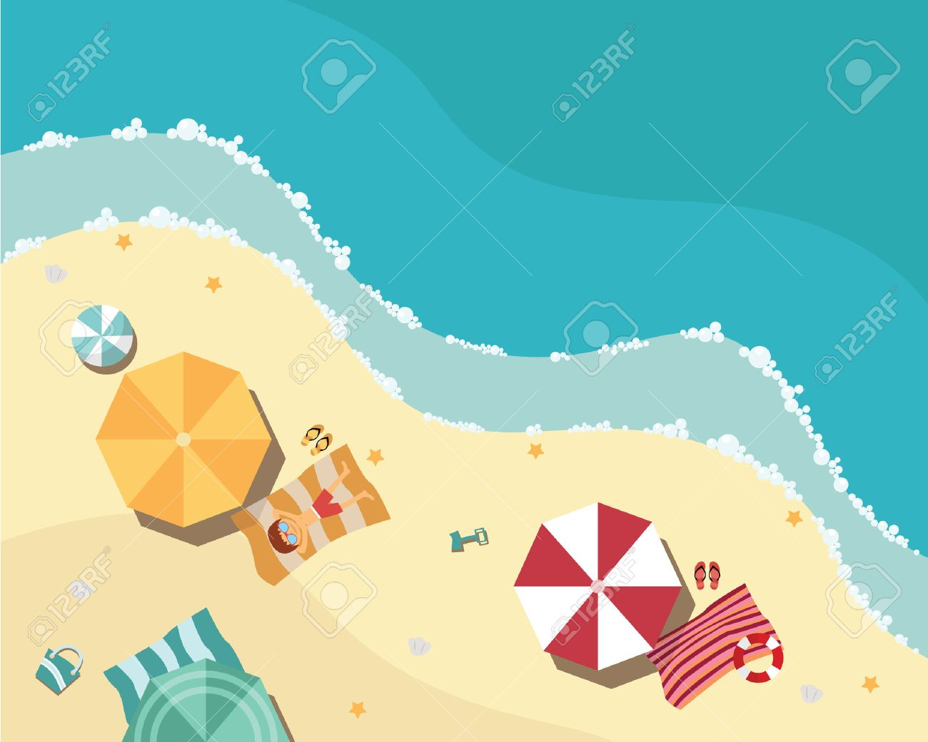 Summer beach in flat design, aerial view, sea side and umbrellas, vector illustration - 36573021