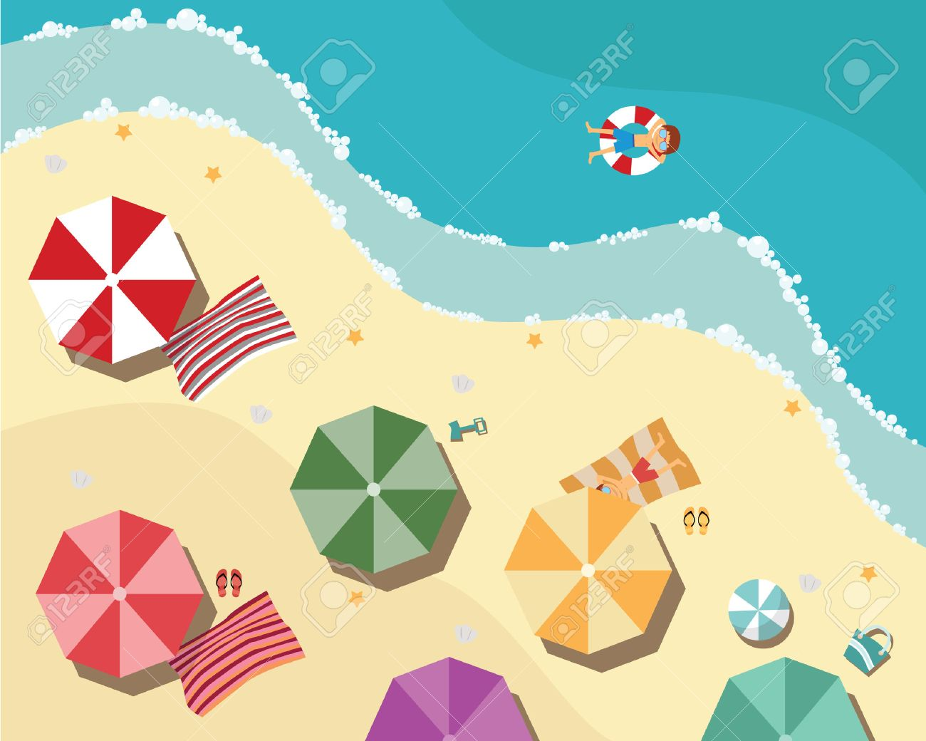 Summer beach in flat design, aerial view, sea side and umbrellas, vector illustration - 36573028