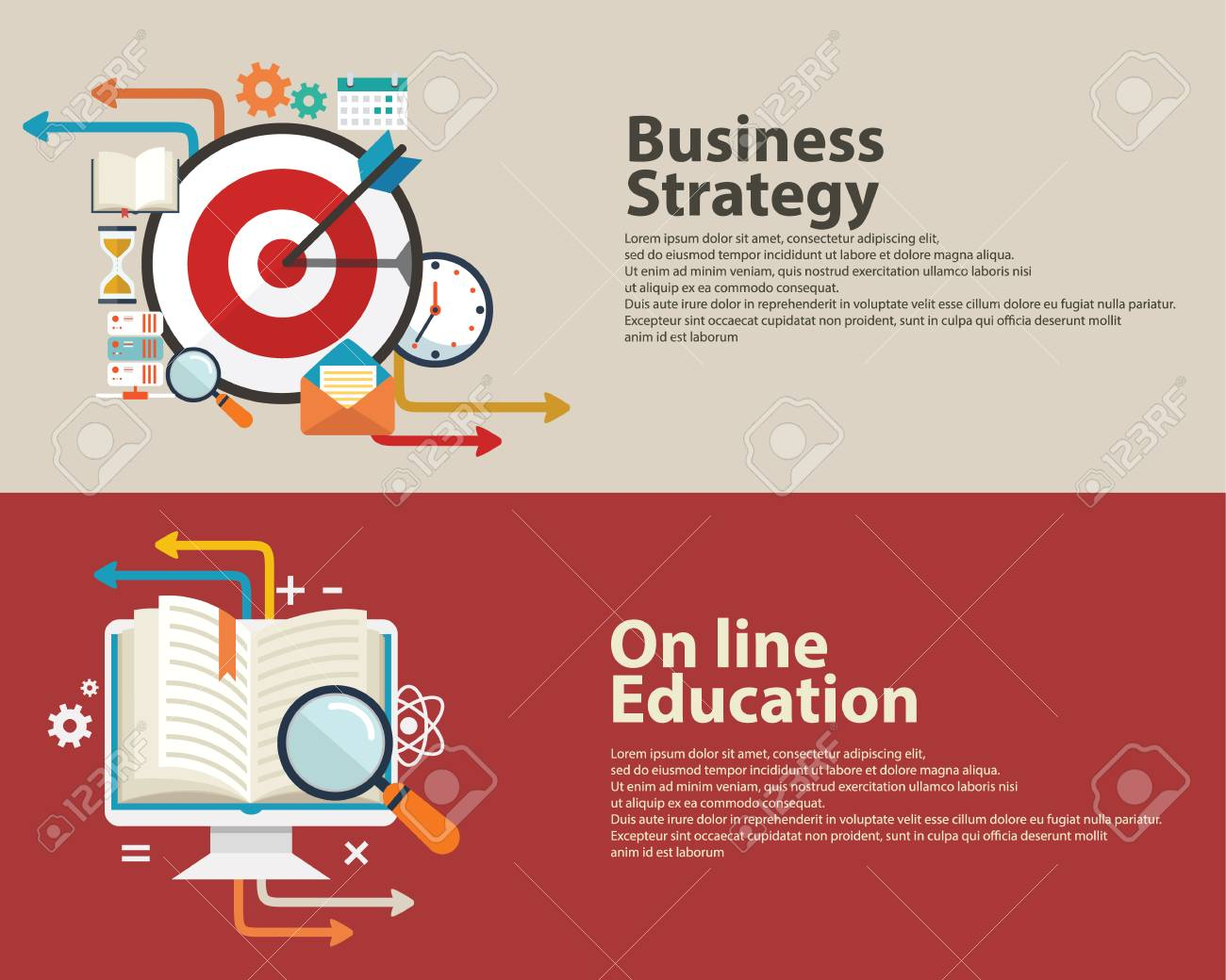 strategy concept business consulting on line education flat