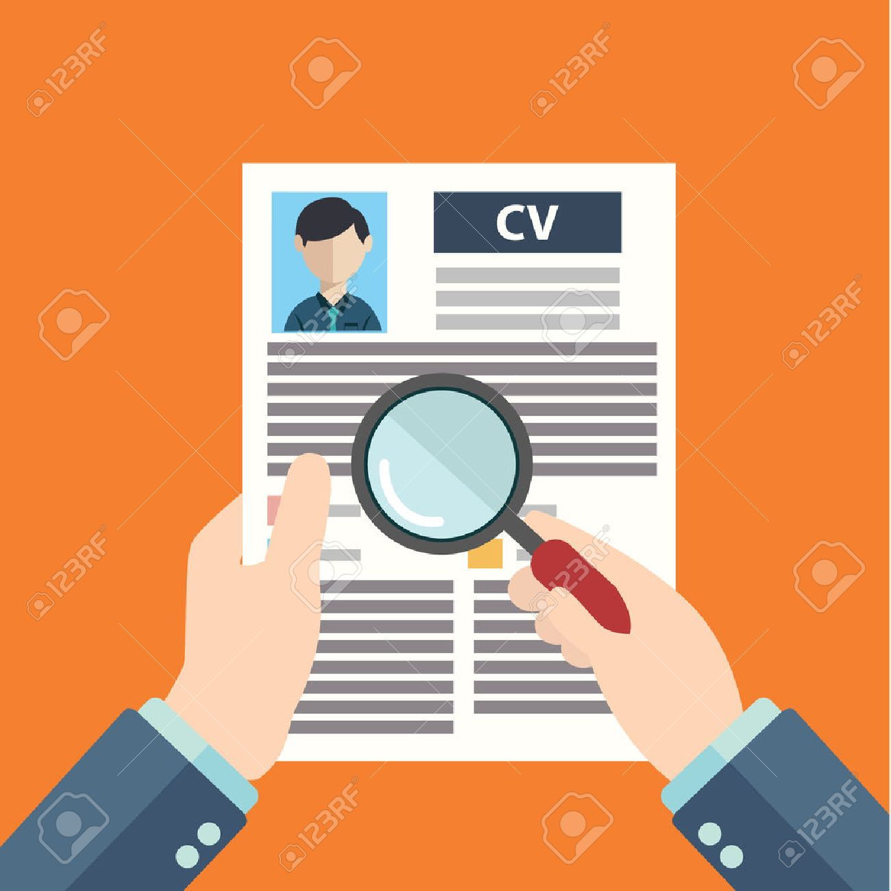 Flat design style modern vector illustration concept of human resources management, finding professional staff, head hunter job, employment issue and analyzing personnel resume - 37863668