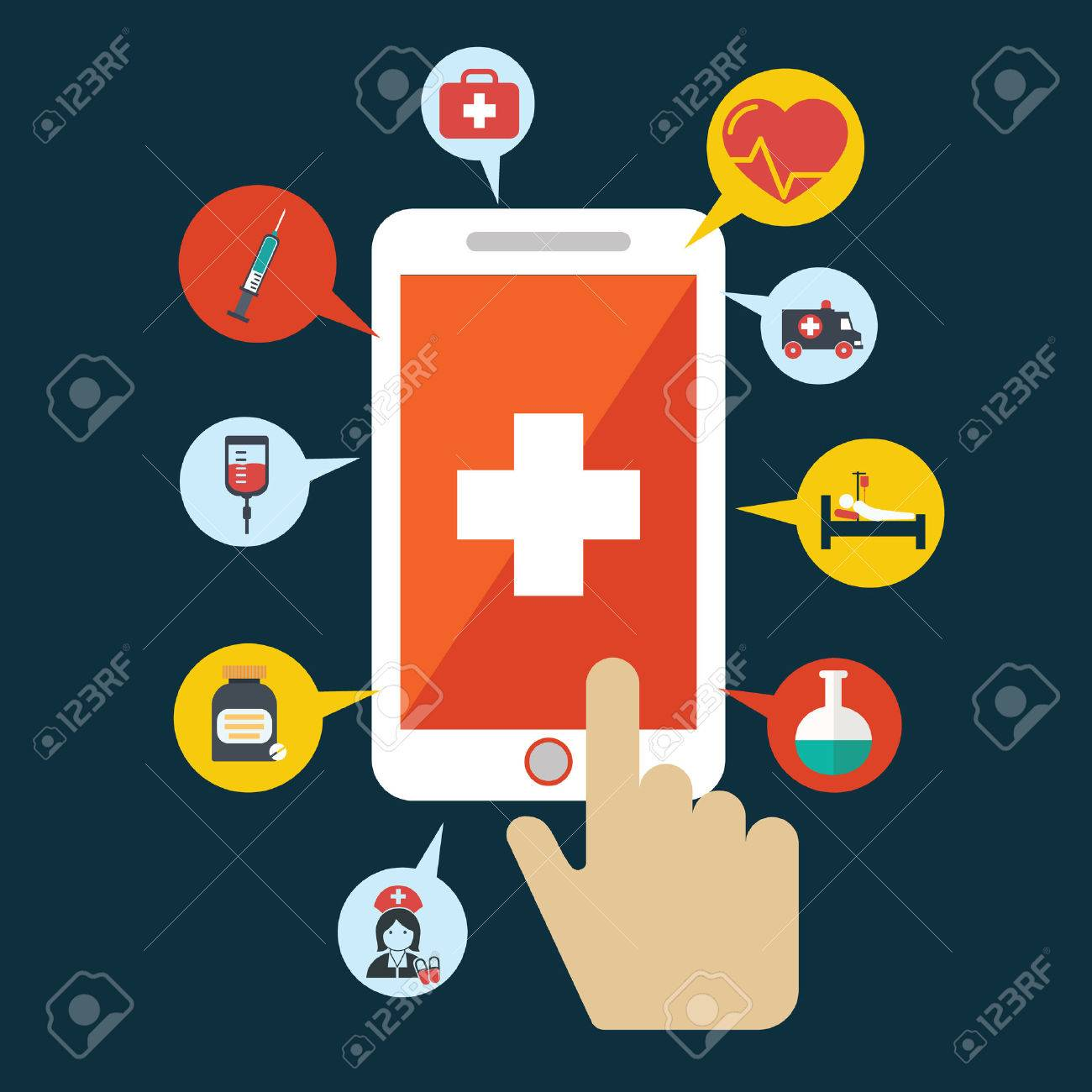 Health application on a smartphone  Open with hand cursor  Vector