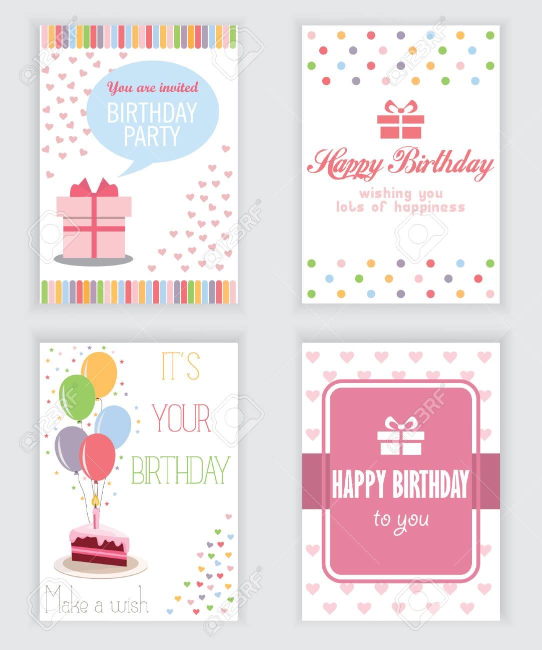 Feliz Cumpleaños Fiesta Saludo Y Una Tarjeta De Invitación Hay Tipografía Cajas De Regalo Confeti Torta Y El Oso De Peluche Plantilla De Diseño