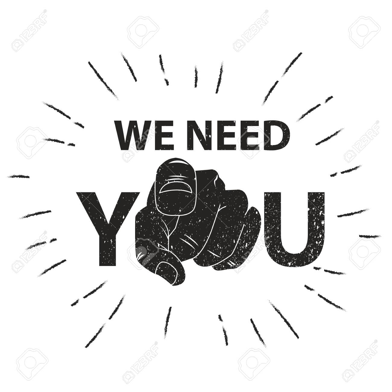 We need you concept vector illustration. Retro human hand with the finger pointing or gesturing towards you - 124962571