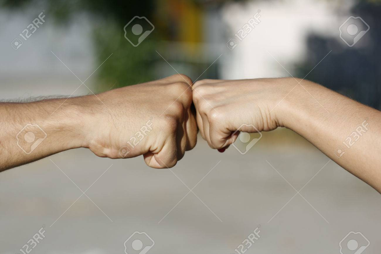 Knuckles Touch, Girl Fist To Boy Fist, Female To Male Fist Touch ...