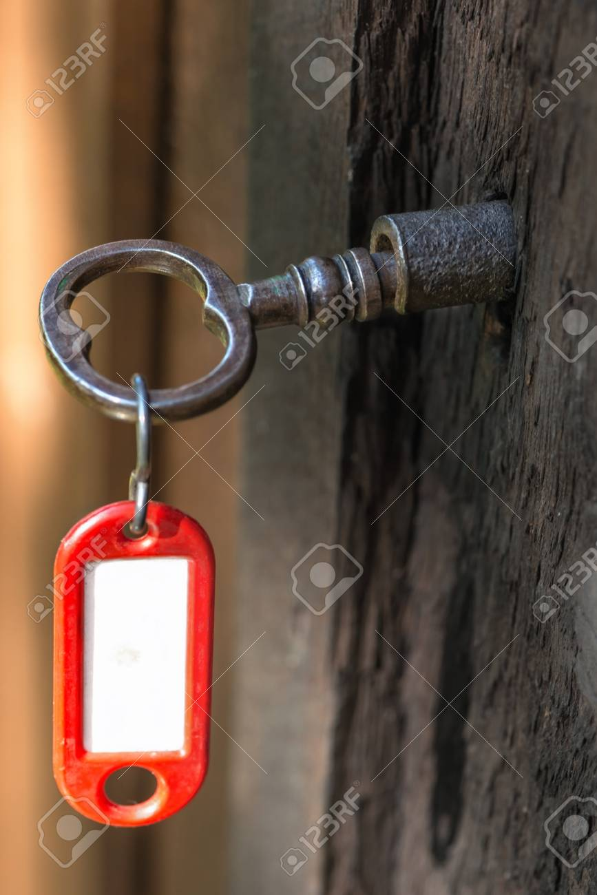 Key in lock with copyspace Stock Photo - 15325314