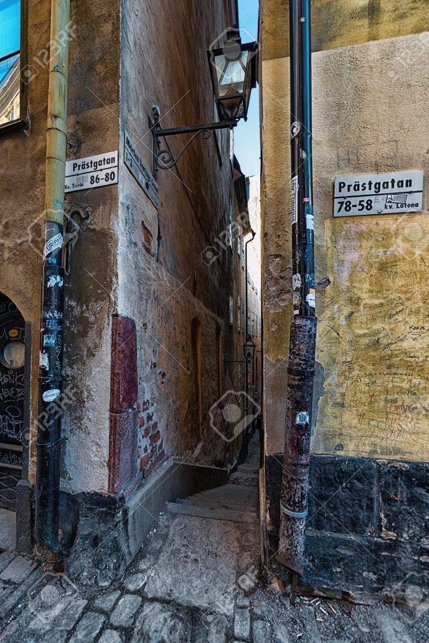Narrow alley in Stockholm Old Town - Marten Trotzigs alley Stock Photo - 19064203