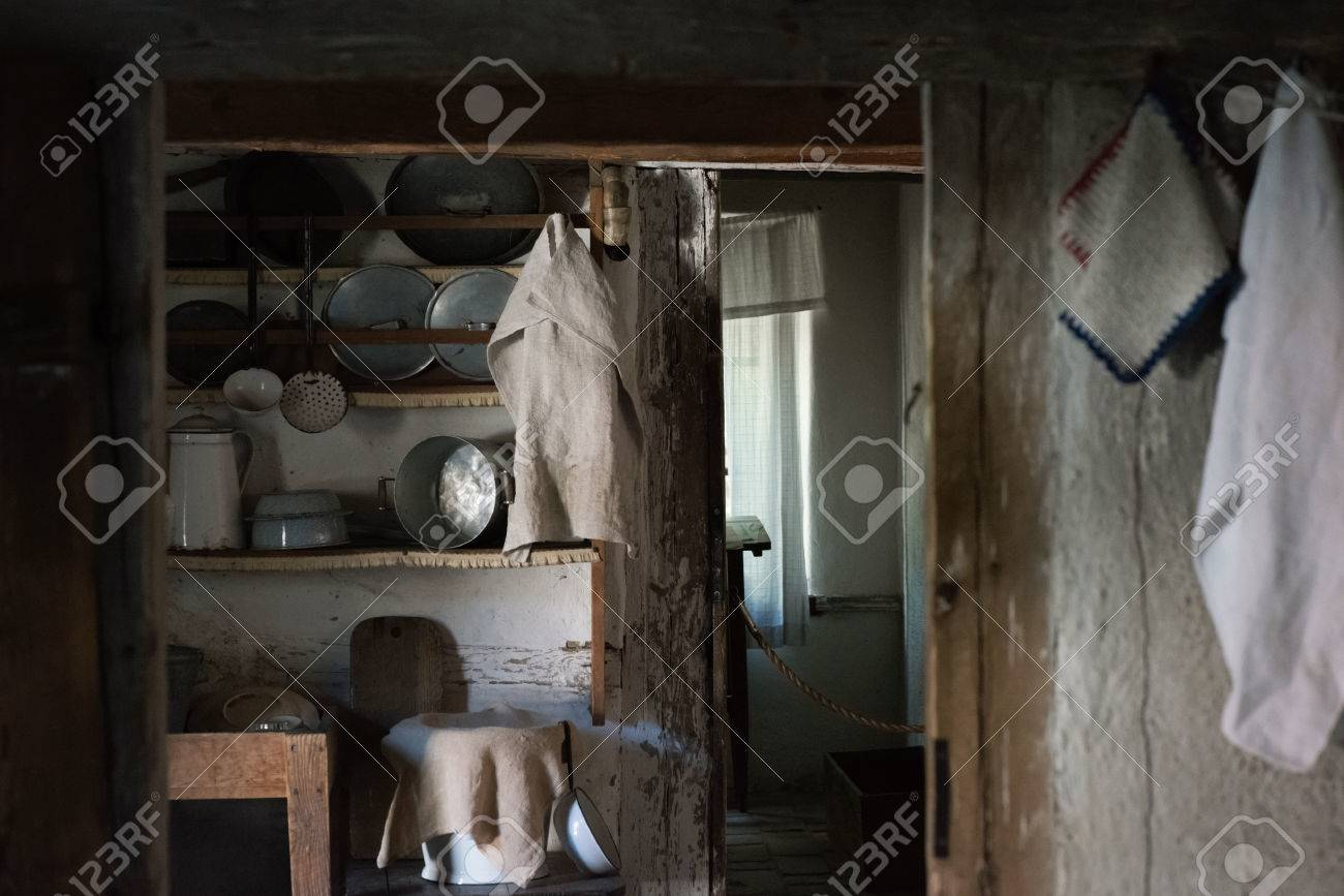Inside Of A Old 1800 Century House With Kitchen Utilities. Sweden Stock  Photo   65240862
