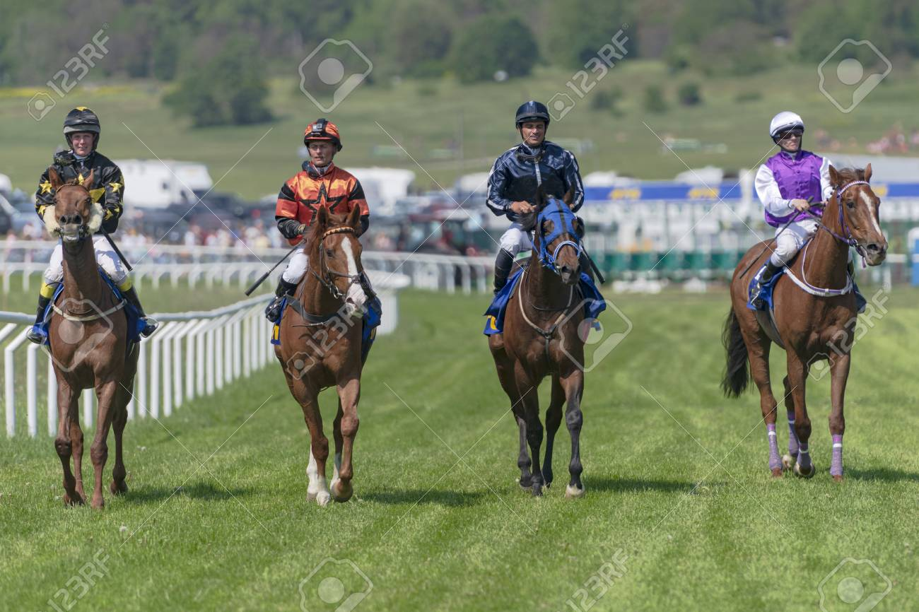STOCKHOLM, SWEDEN - JUNE 6, 2019: Horse racing during sunny weather at Nationaldags Galoppen in Gardet field in the middle of Stockholm. - 124583057