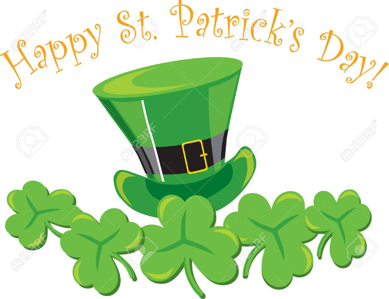 St. Patrick's decoration with hat &amp, shamrocks on white background Stock Vector - 6908376