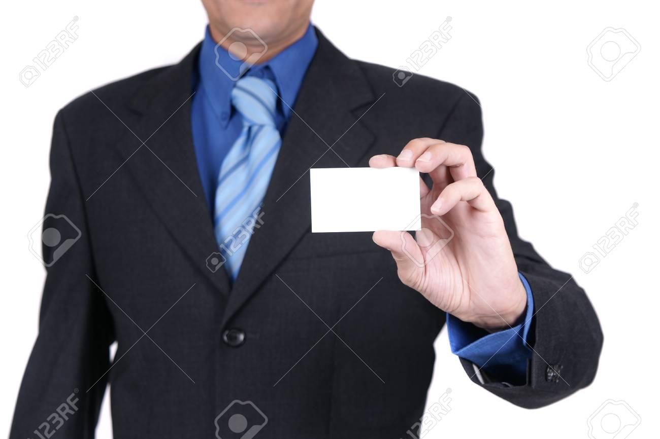 businessman holding blank card Stock Photo - 4170883