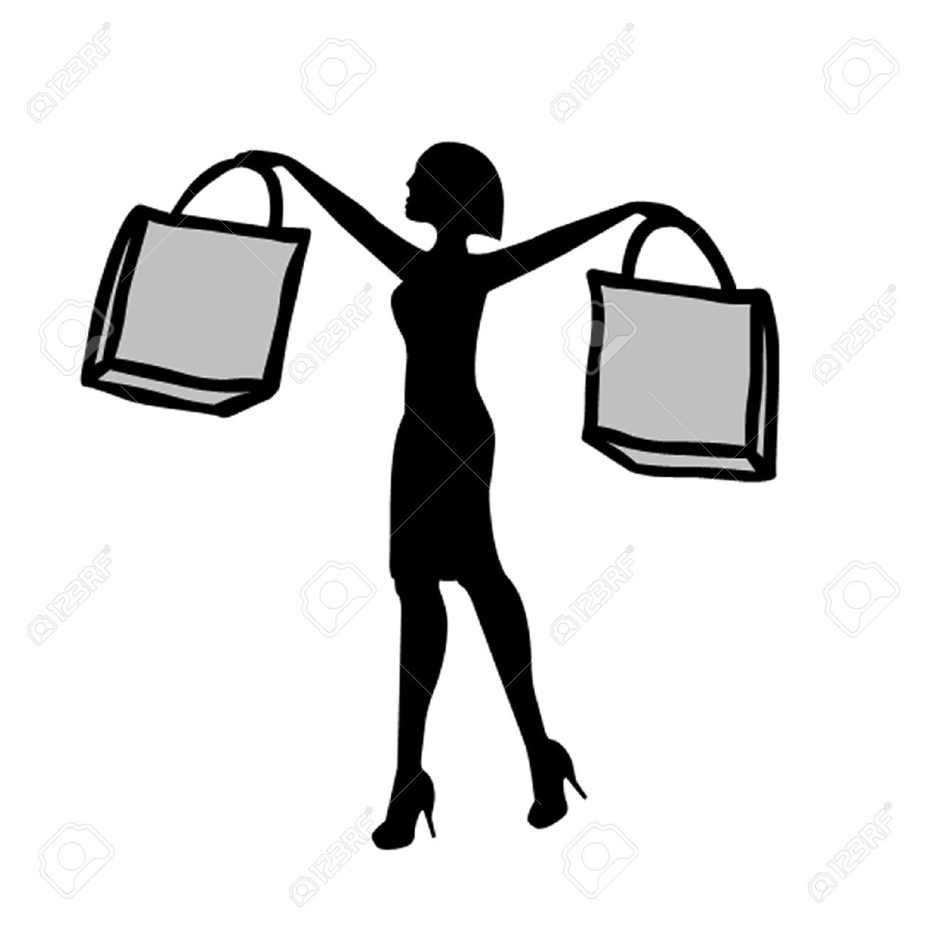 Woman With Shopping Bags Royalty Free Cliparts, Vectors, And Stock ...