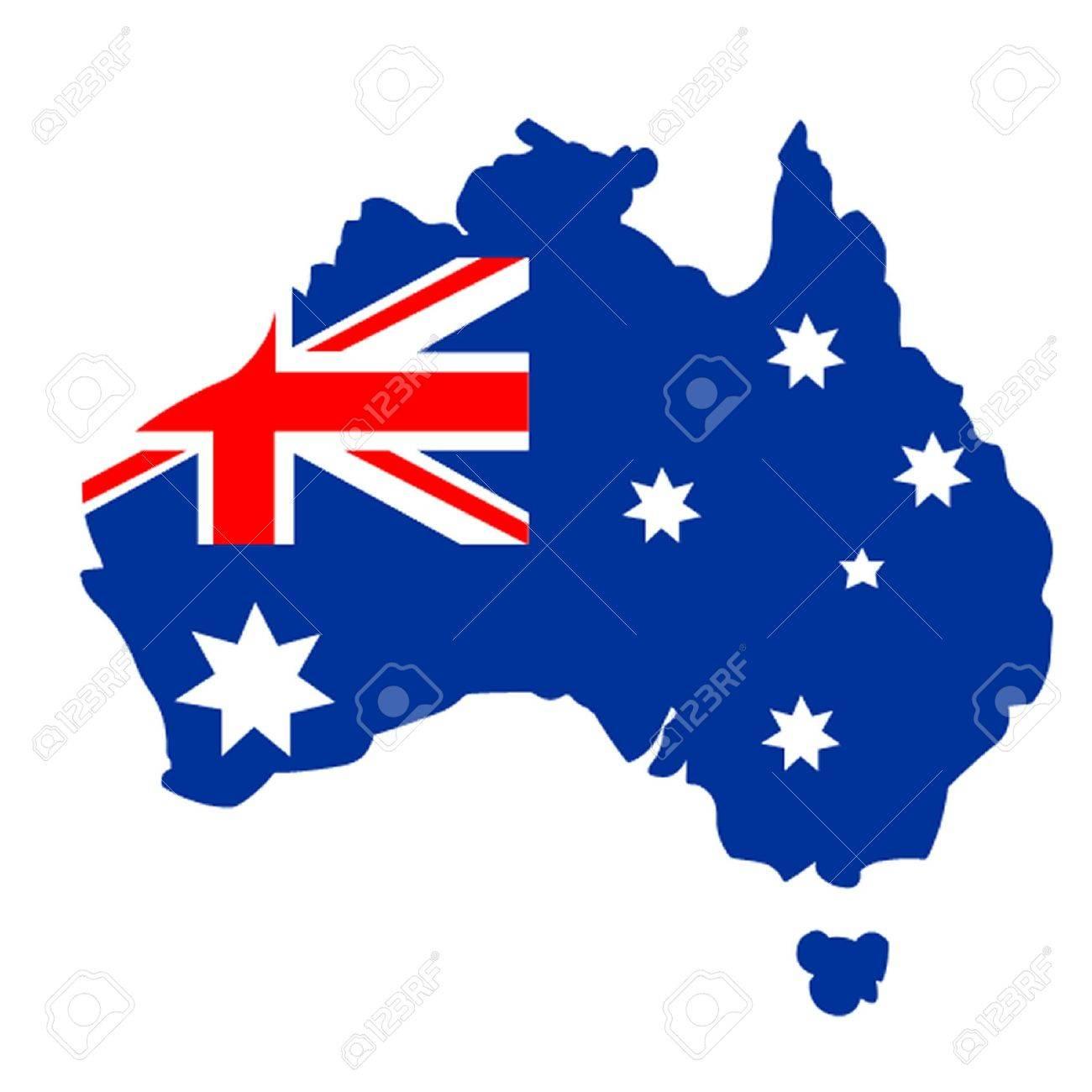 Australian Flag Map Stock Vector - 12028402