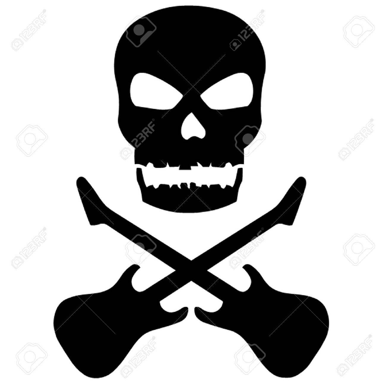 Skull And Crossed Guitars Stock Vector - 15492889