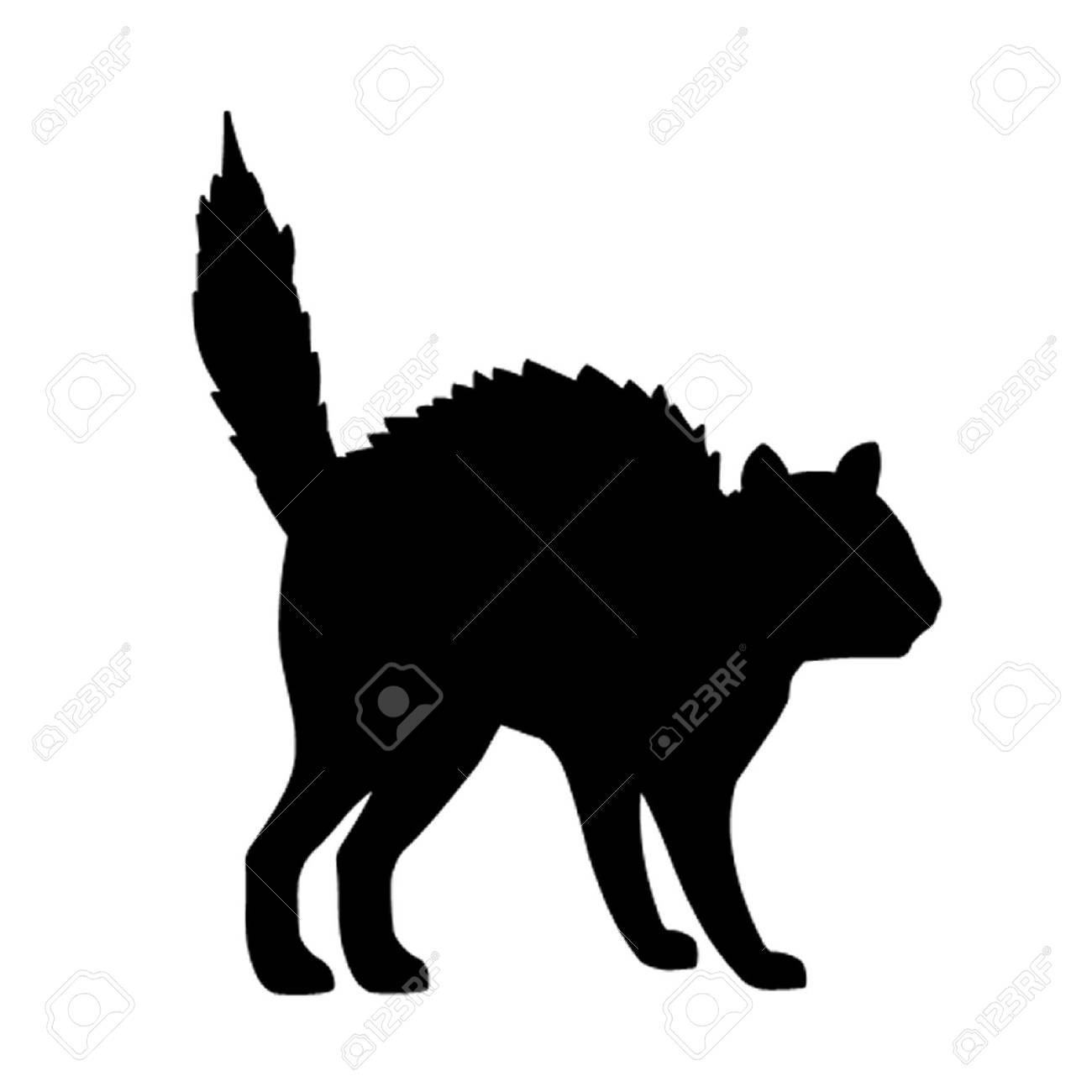 halloween cat cat in halloween pose illustration - Black Cat Silhouette Halloween