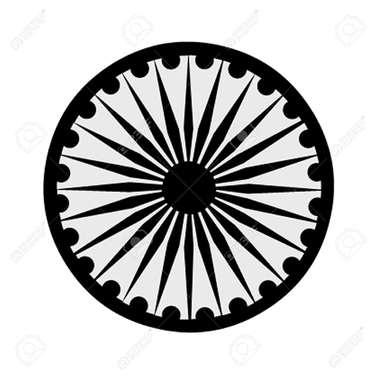 The Buddhist Symbol Of The Ashoka Chakra Royalty Free Cliparts