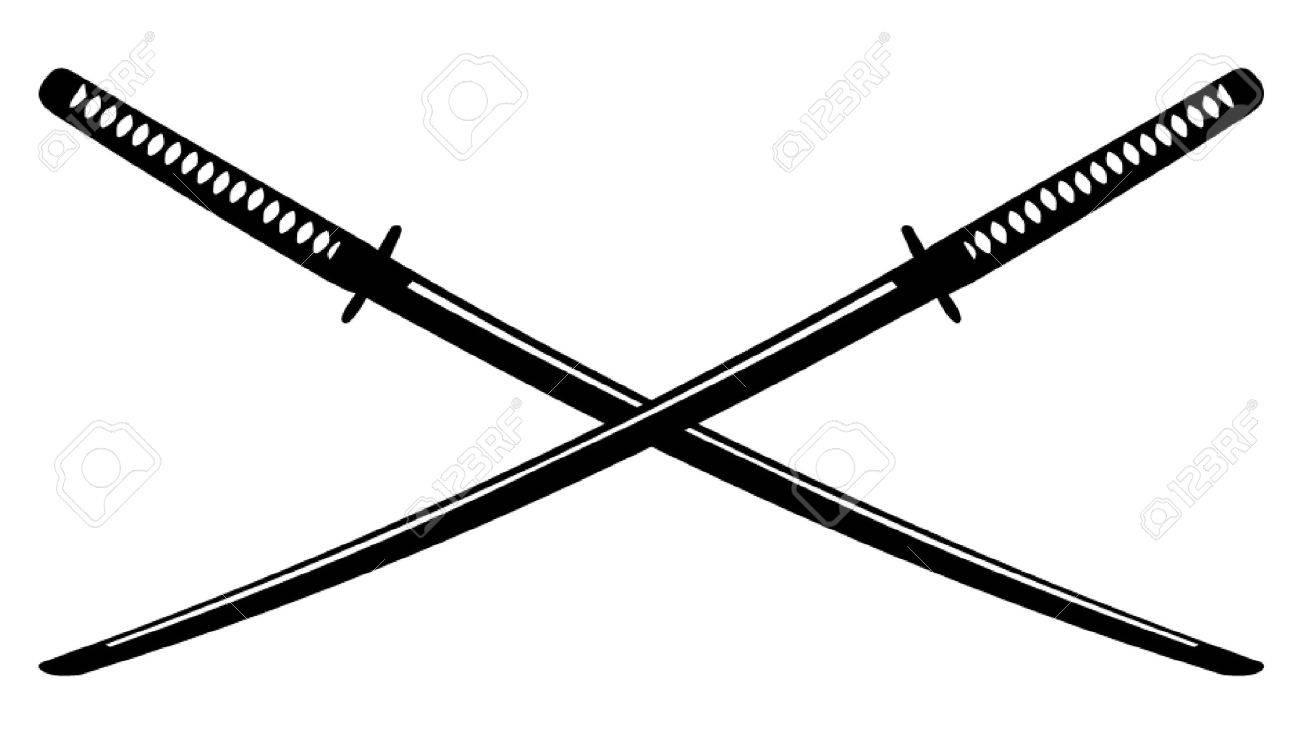 日本刀を交差のイラスト素材ベクタ Image 50641621