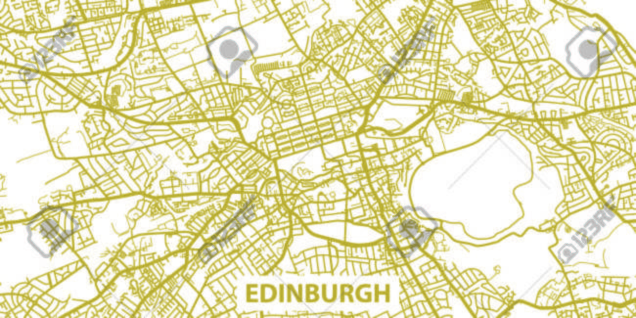 Detailed map of Edinburgh in gold with title, scale 1:30 000..